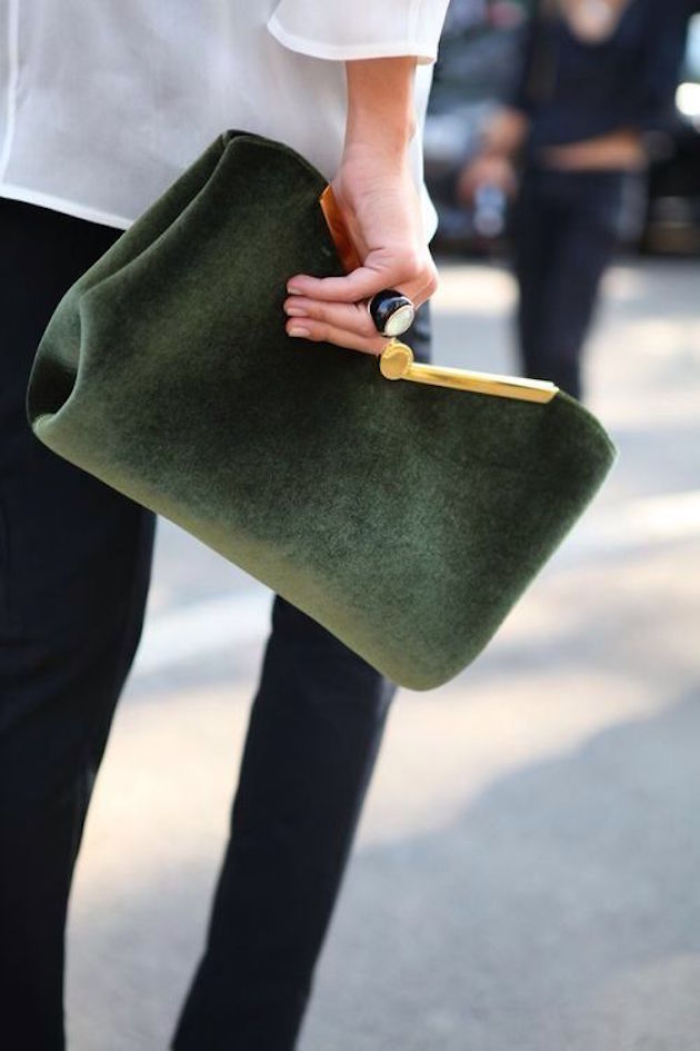 green clutch from fashion week
