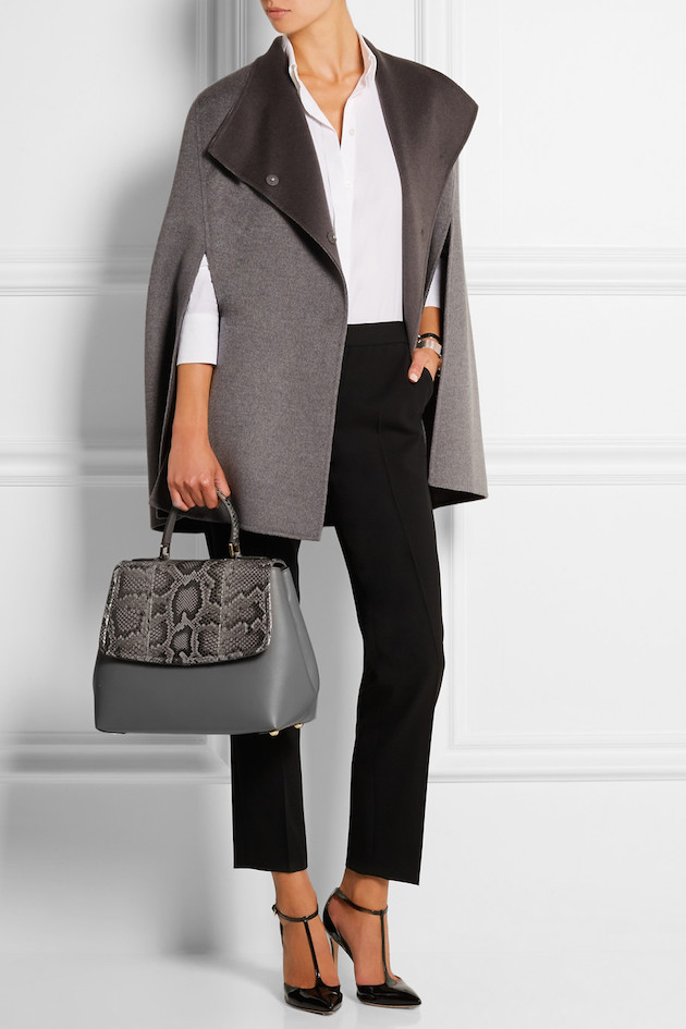 business woman outfit with animal print bag