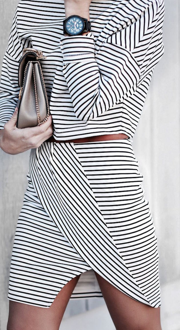 dress in stripes  looking amazing