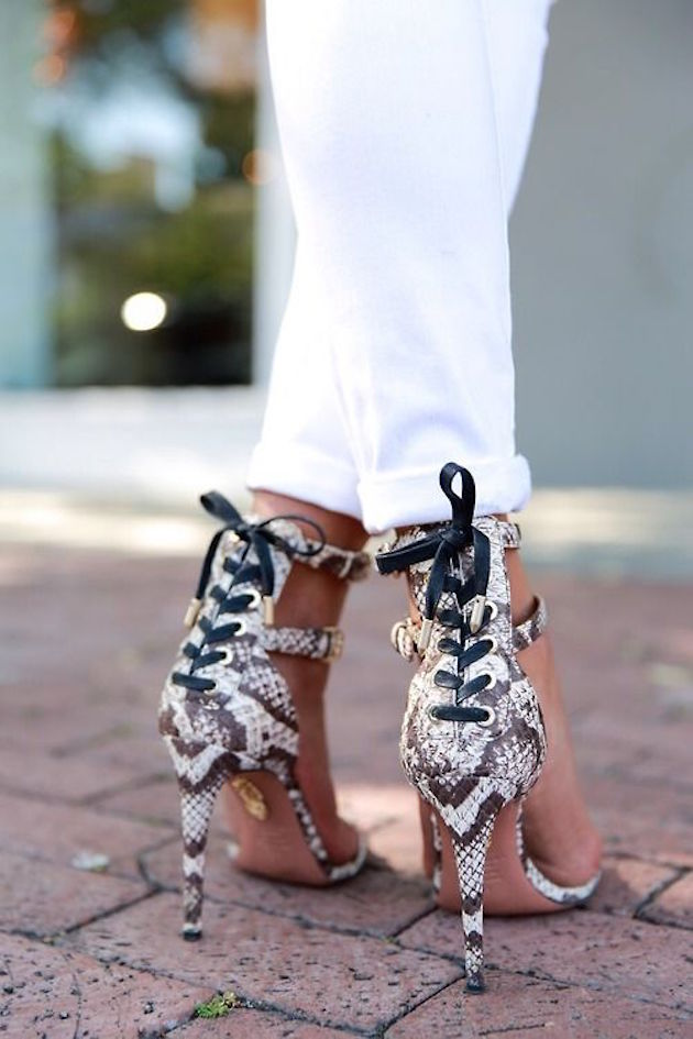 sandals in animal print, snake print