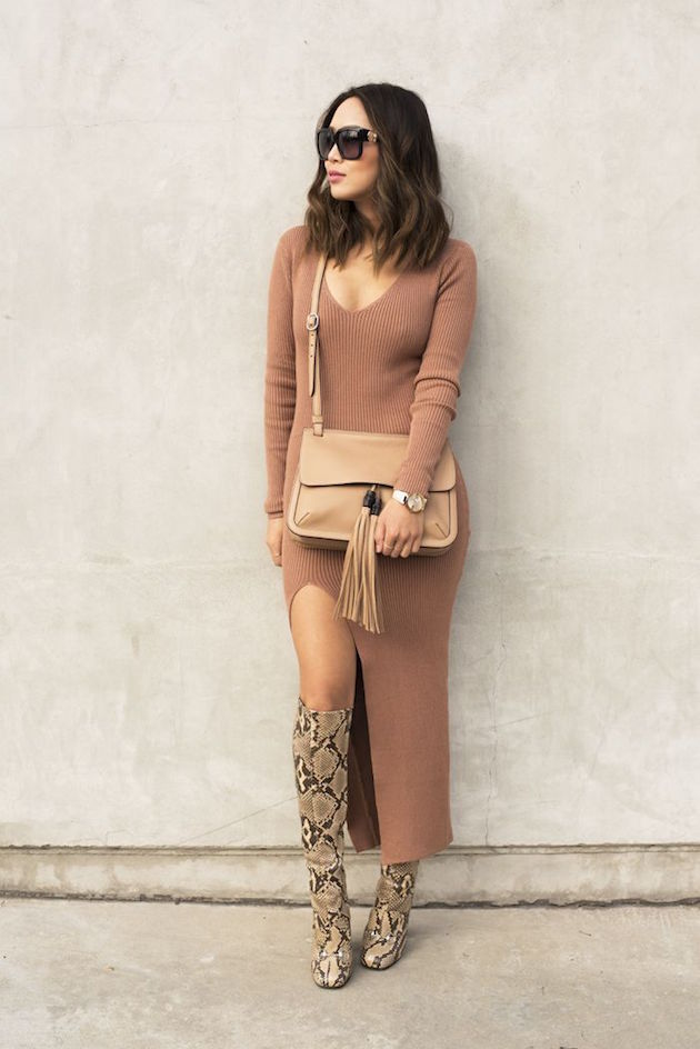 python boots with a long dress for fall