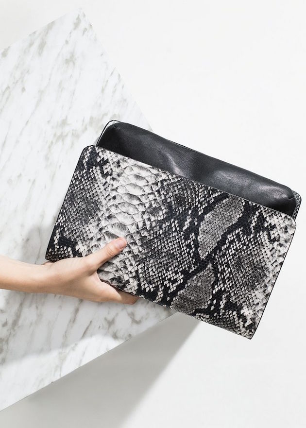 clutch in animal print and marble