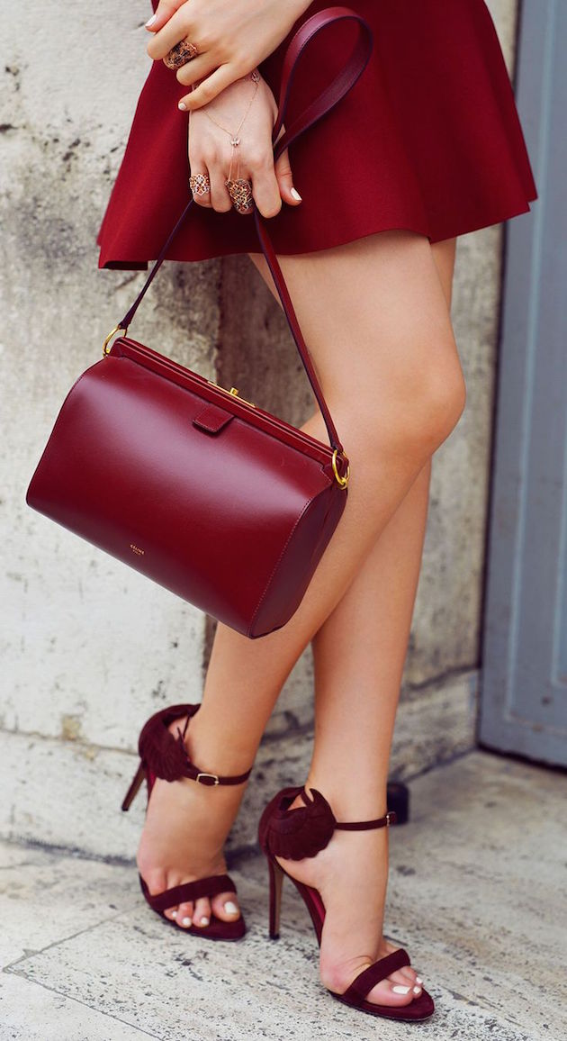 red bag, shoes and dress