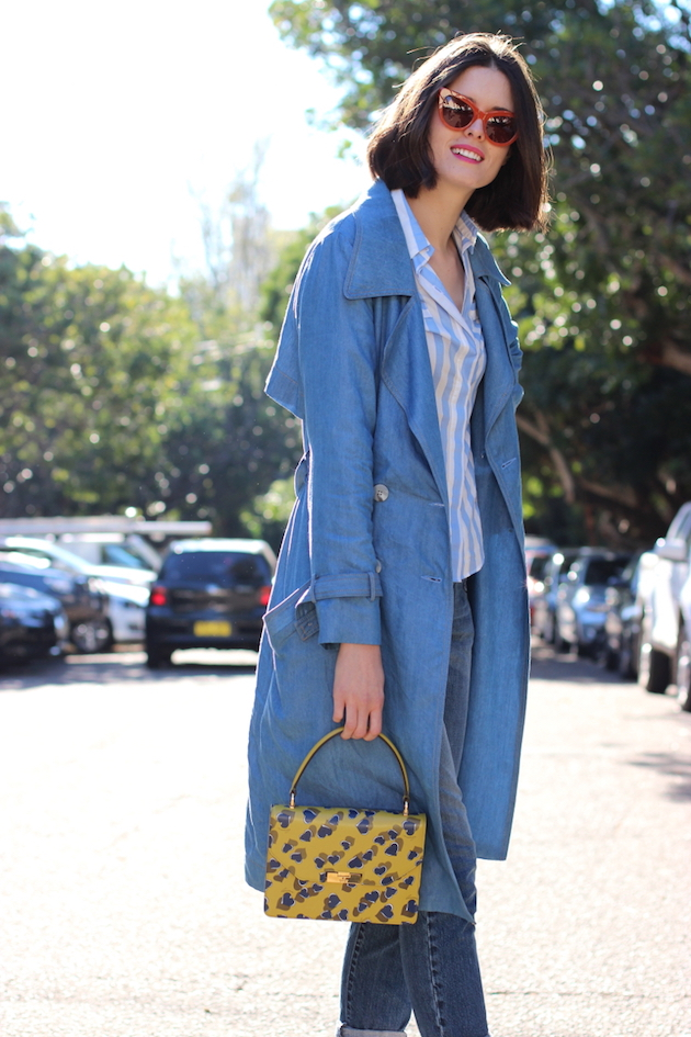 BYCHILL-Chloe-Hill-Wearing-Dress-up-melbourne-chambray-trench-and-Gucci-heart-print-bag