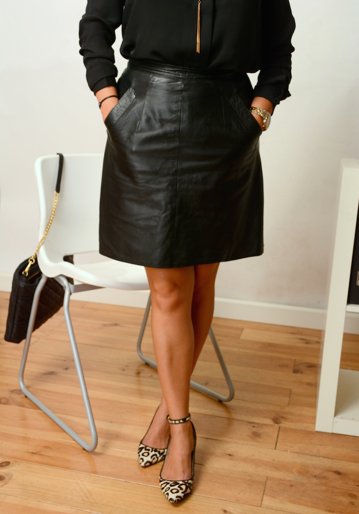 leather skirt to the office  - how to wear to dress professionally