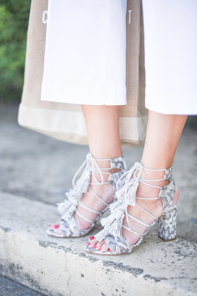 snake print sandals via 9-To-5-Chic