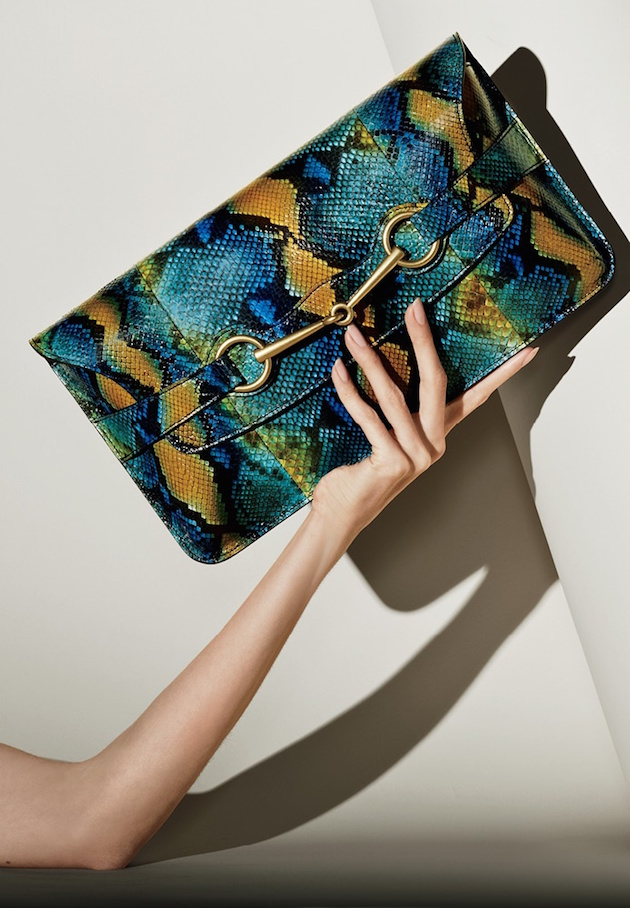 clutch from Gucci  in python and great colours