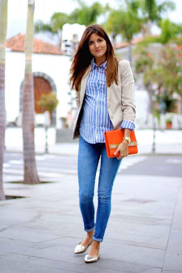 pregnant casual look stylish