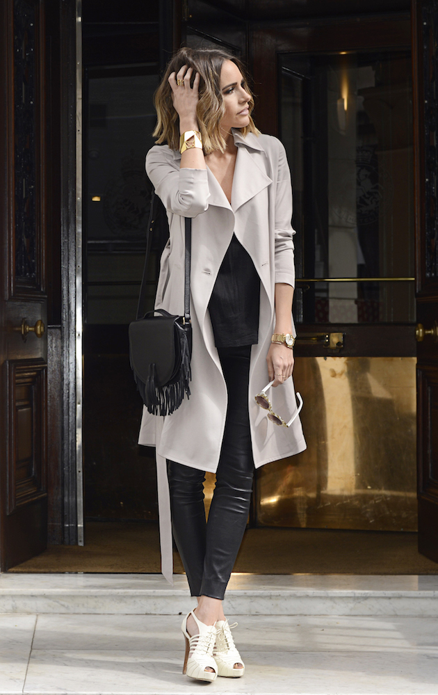 how to wear trench and leather pants