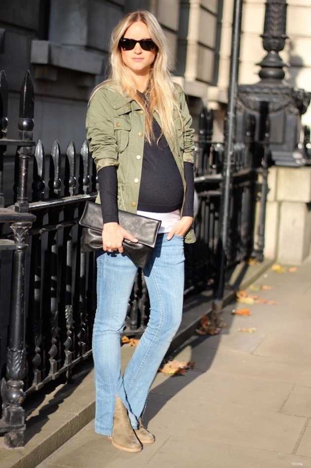 pregnant in blue jeans