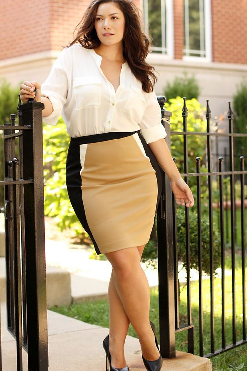 woman wearing a pencil skirt with white shirt