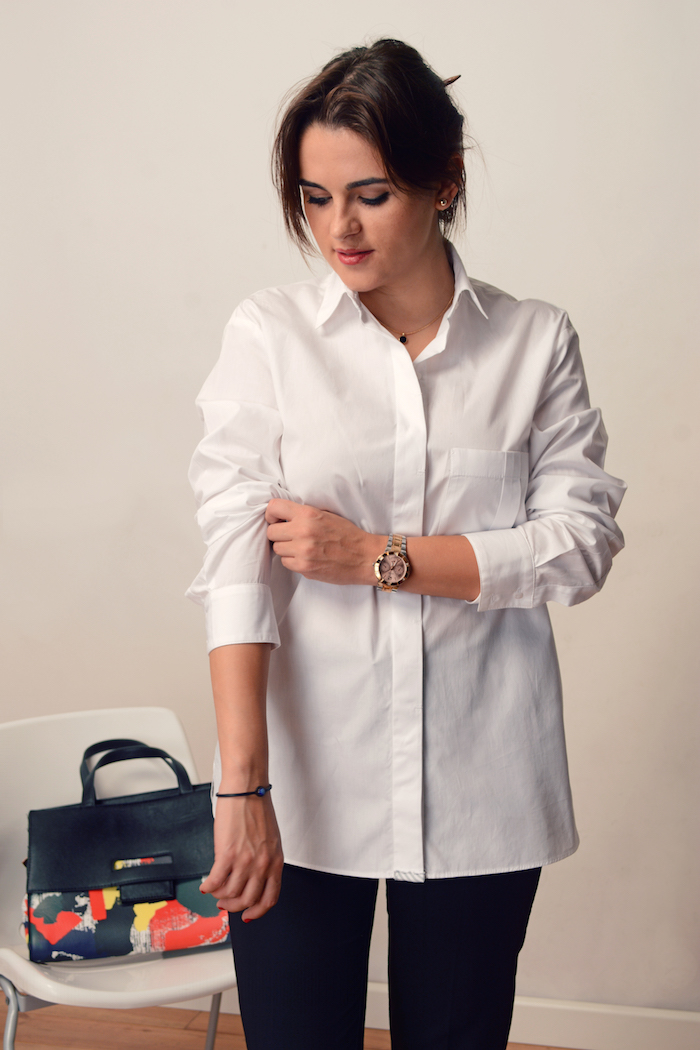 woman wearing an elegant shirt wearing to work