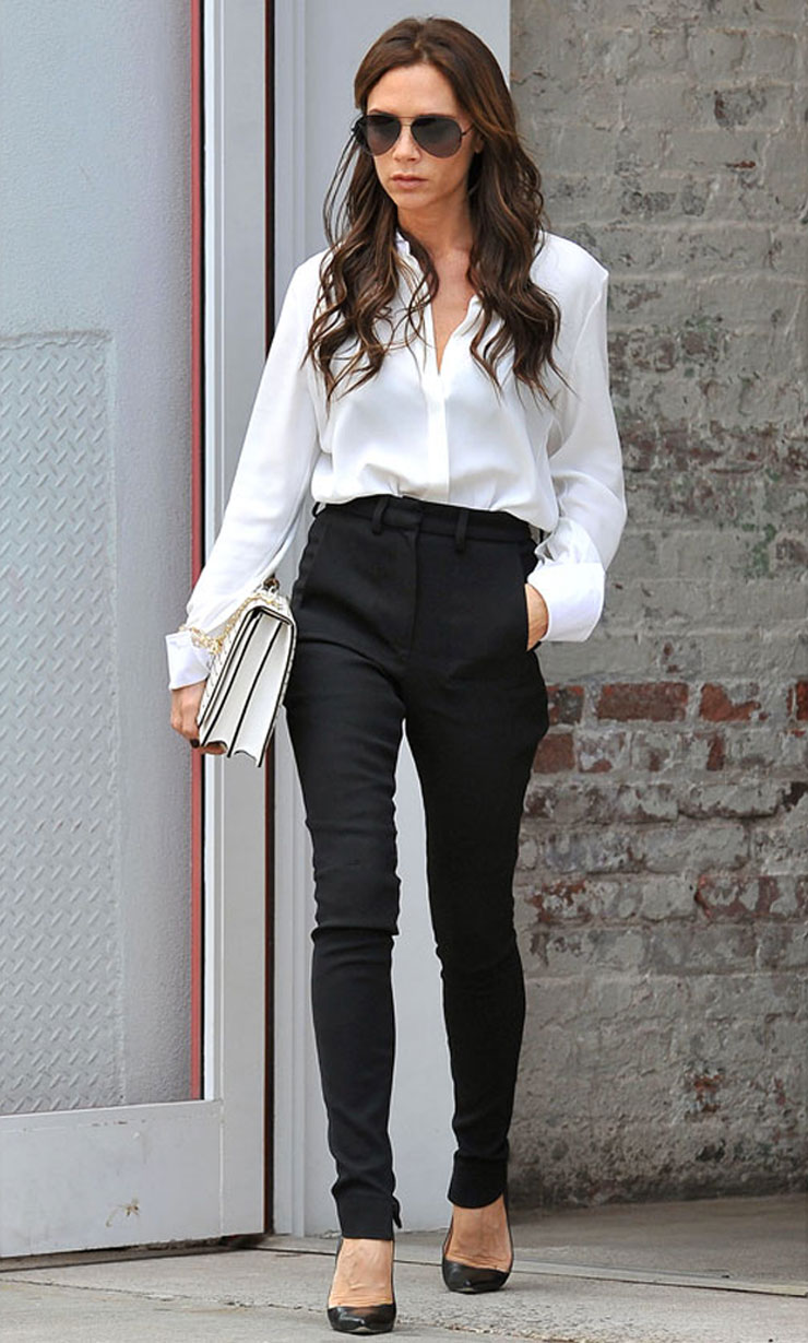 victoria beckham in white shirt and black pants