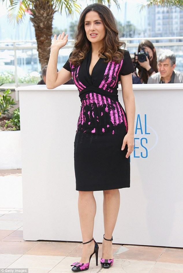 salma hayek with a beautiful dress