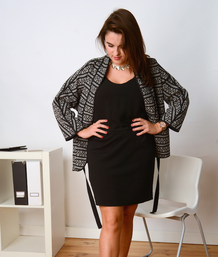 black dress and blazer autumn office wear