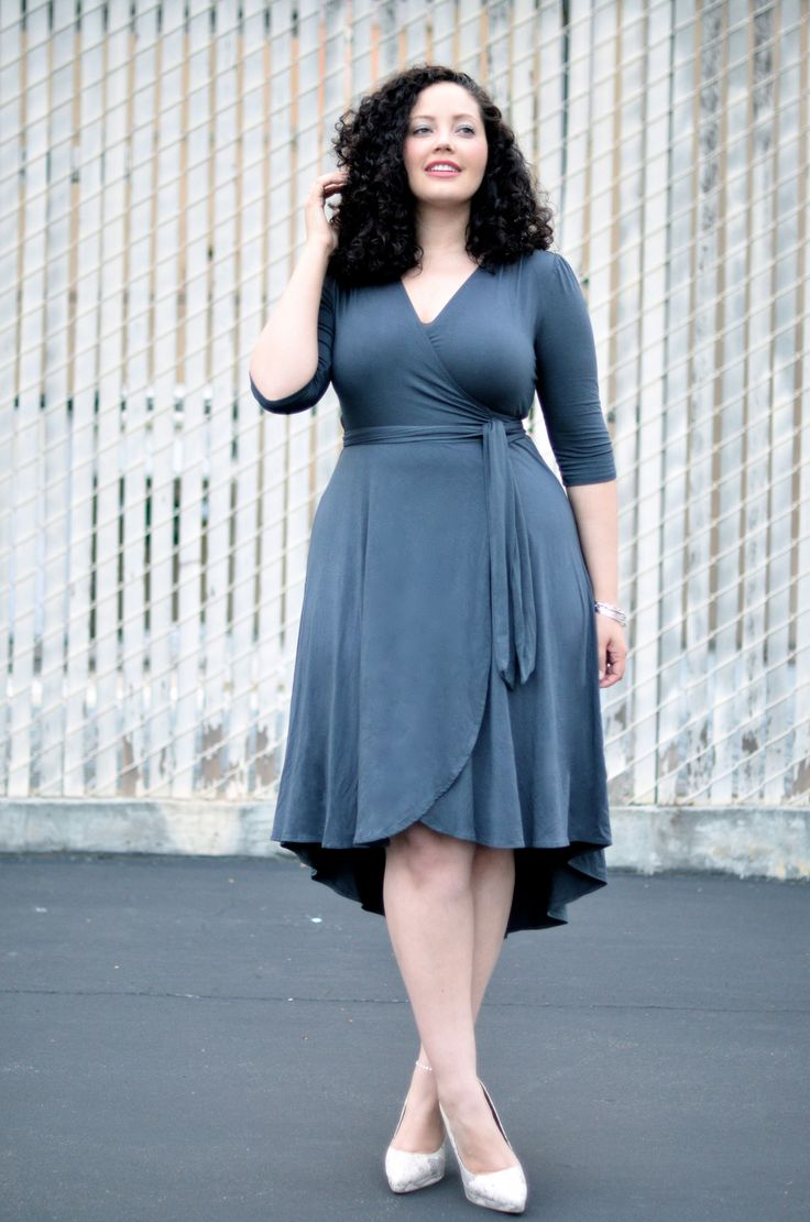 curvy lady wearing a wrap dress