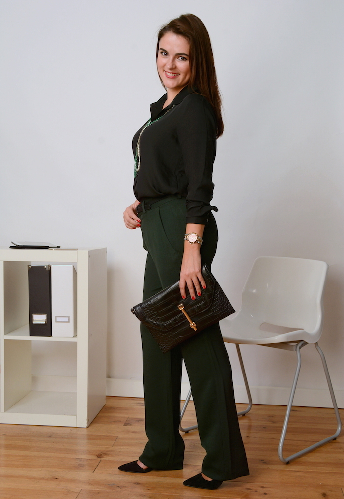 long slacks and black shirt for office