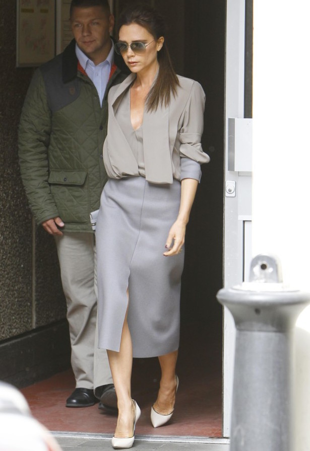 Victoria Beckham in grey skirt