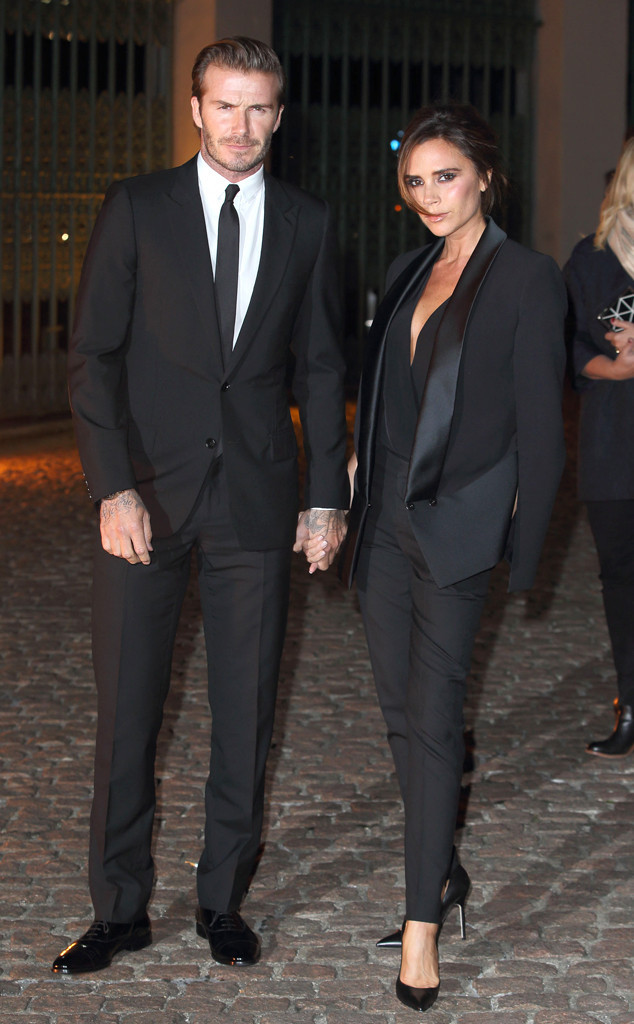 victoria and david beckham in black suit