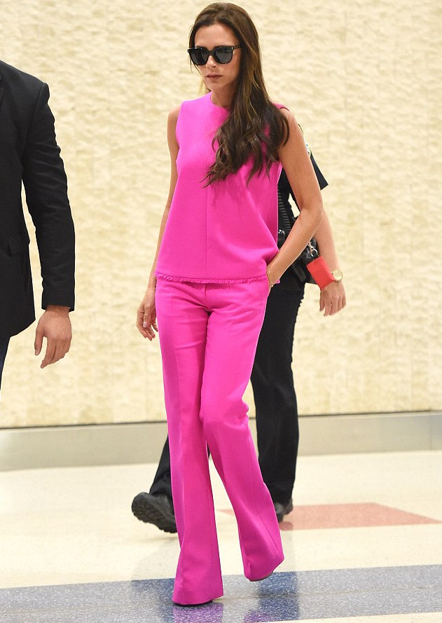 victoria-beckham wearing a  pink suit