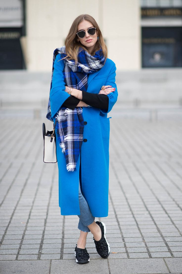 blue long coat by chiara ferragni