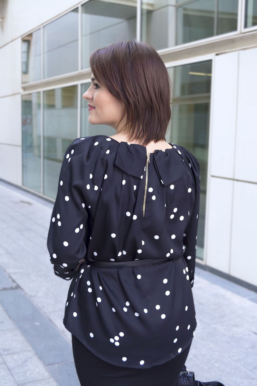 black blouse with dots for office