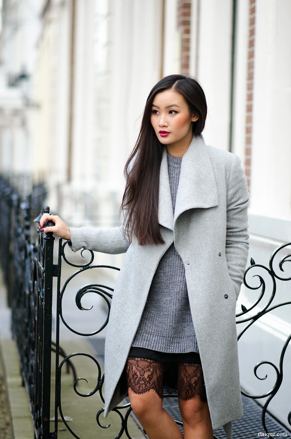 overzise grey coat for fall