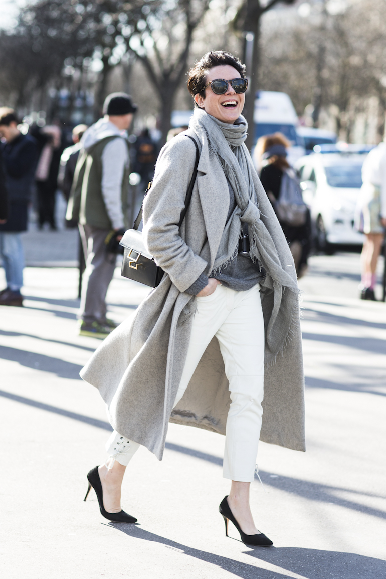 long grey coat and white pants