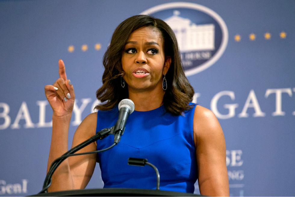 michelle obama in blue dress public speaking