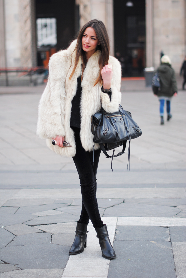 beige faux fur long coat