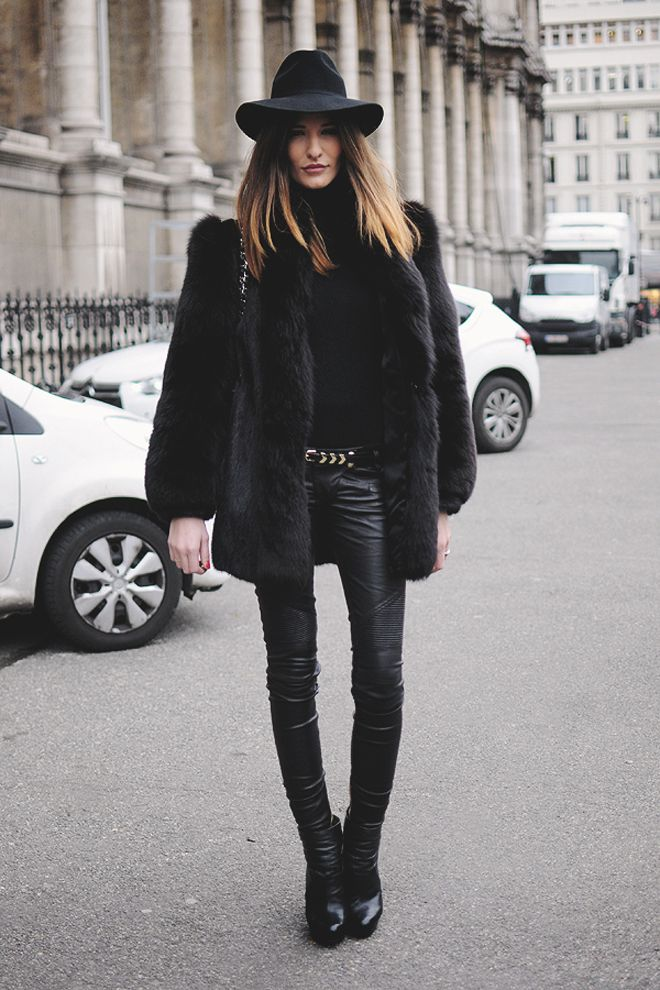 black faux fur coat trendy