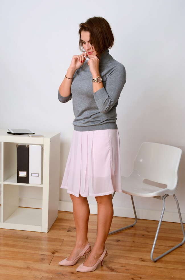 grey sweater and silky  pink skirt