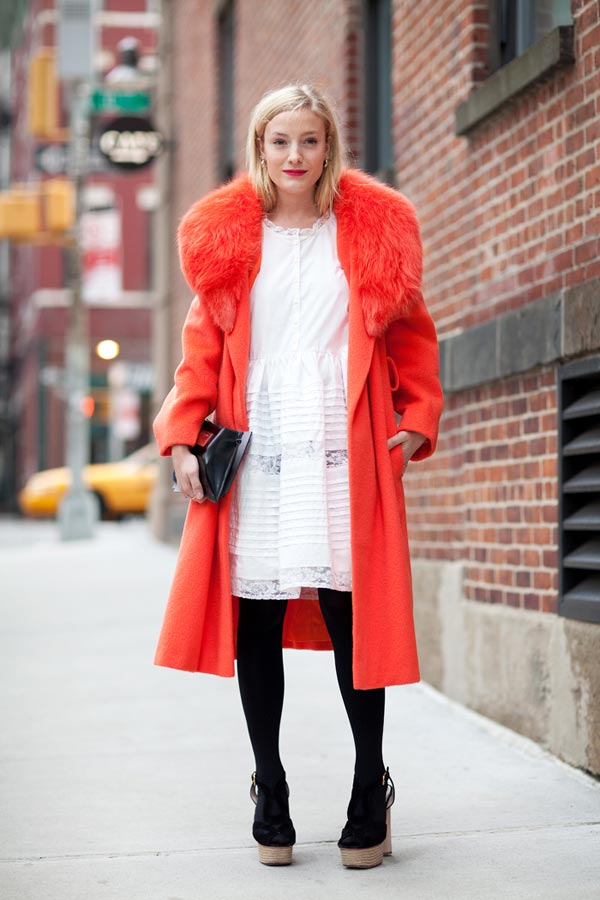 orange long coat with white dress