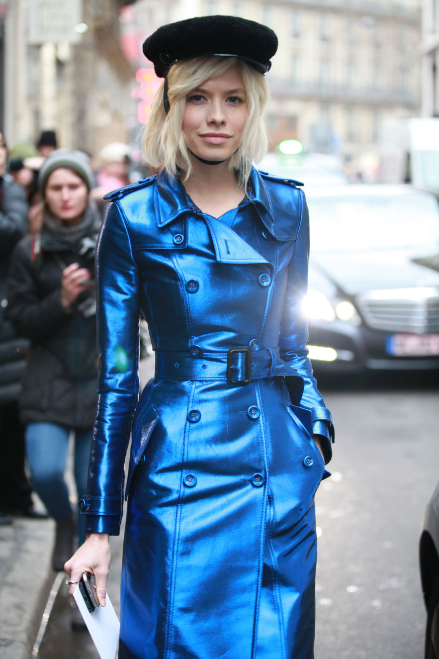 Elena-Perminova-in-a-Burberry-metallic-blue-trench-coat-military-hat-and-cap-toe-pumps-Fashion-Week-haute-couture-2013-via-vogue.fr_