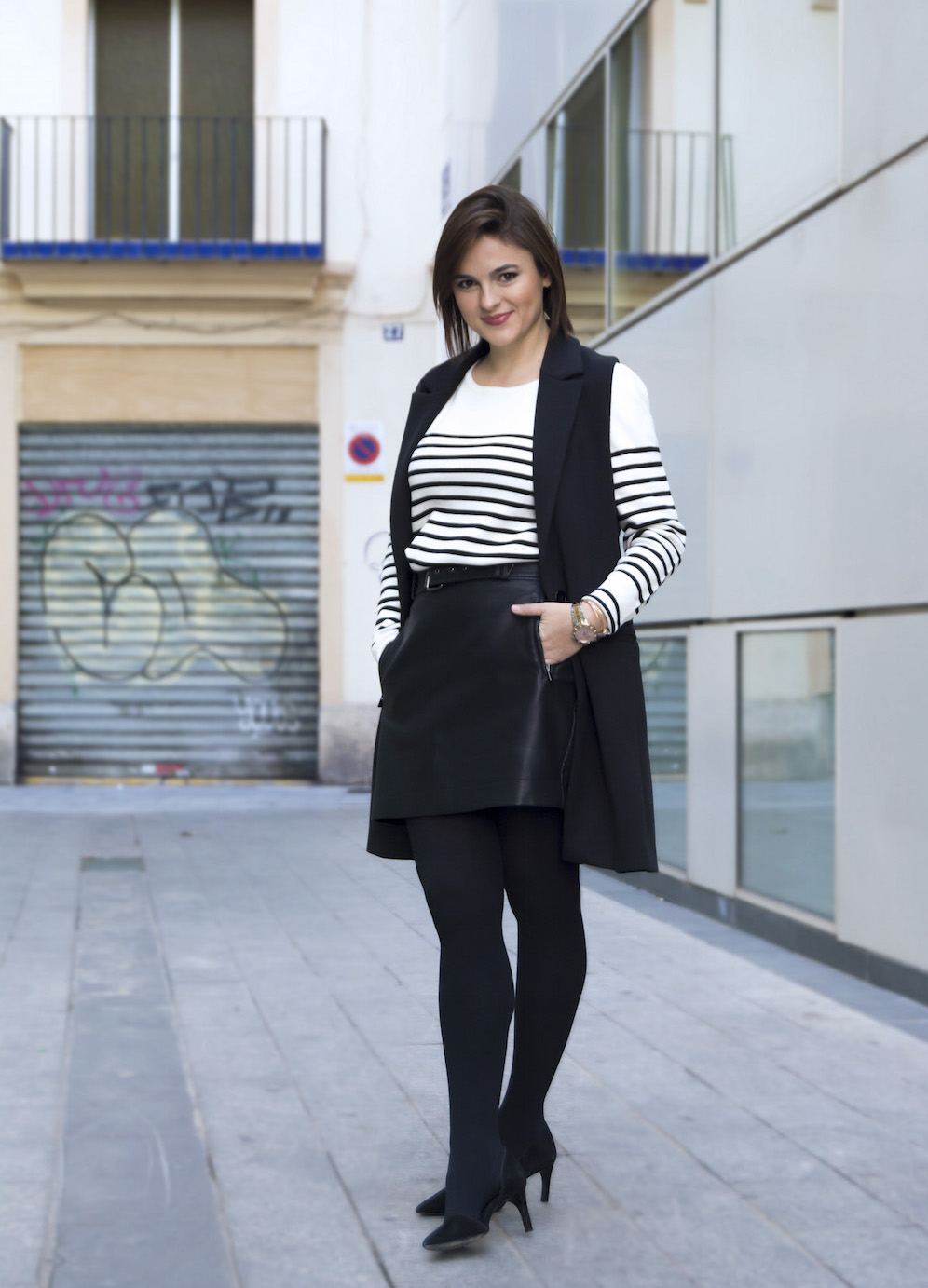 stripes and leather skirt to the office