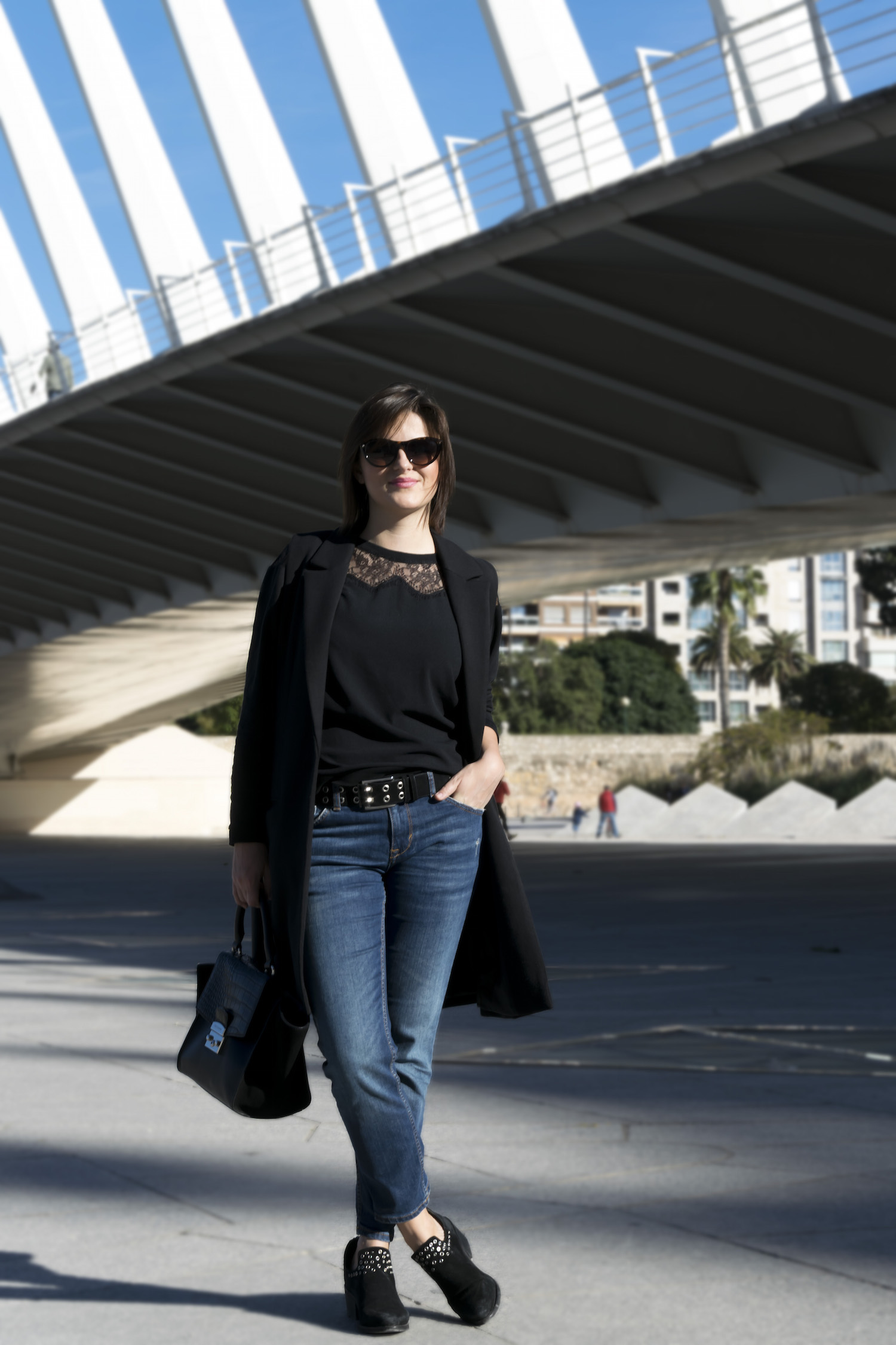 black and jeans for a casual weekend look