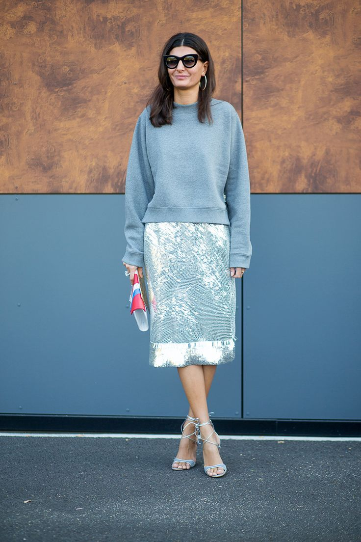 sequin skirt with sweater
