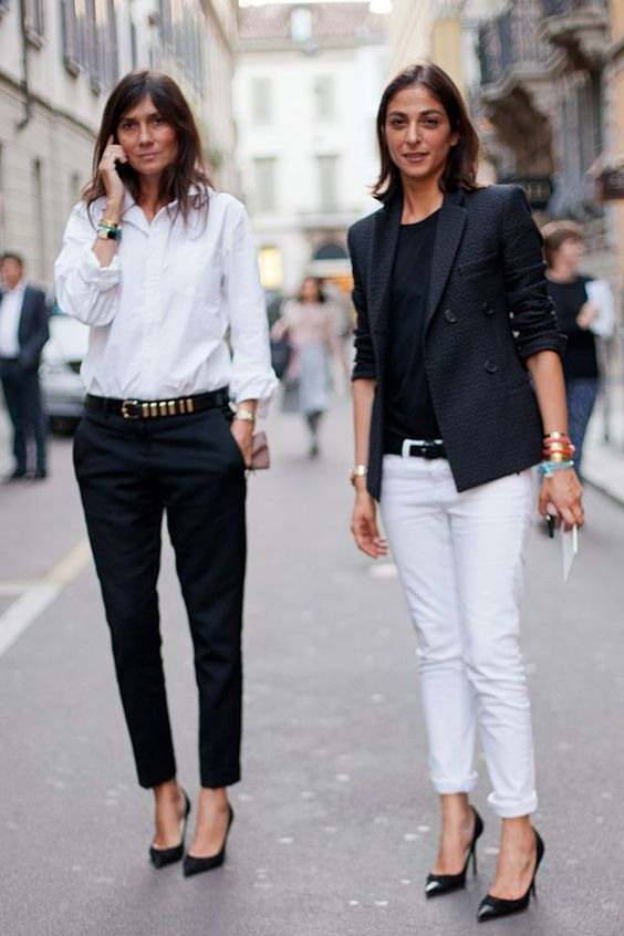 black and white in two workwear