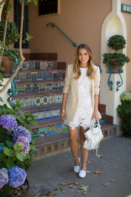 casual in white dress and sneakers