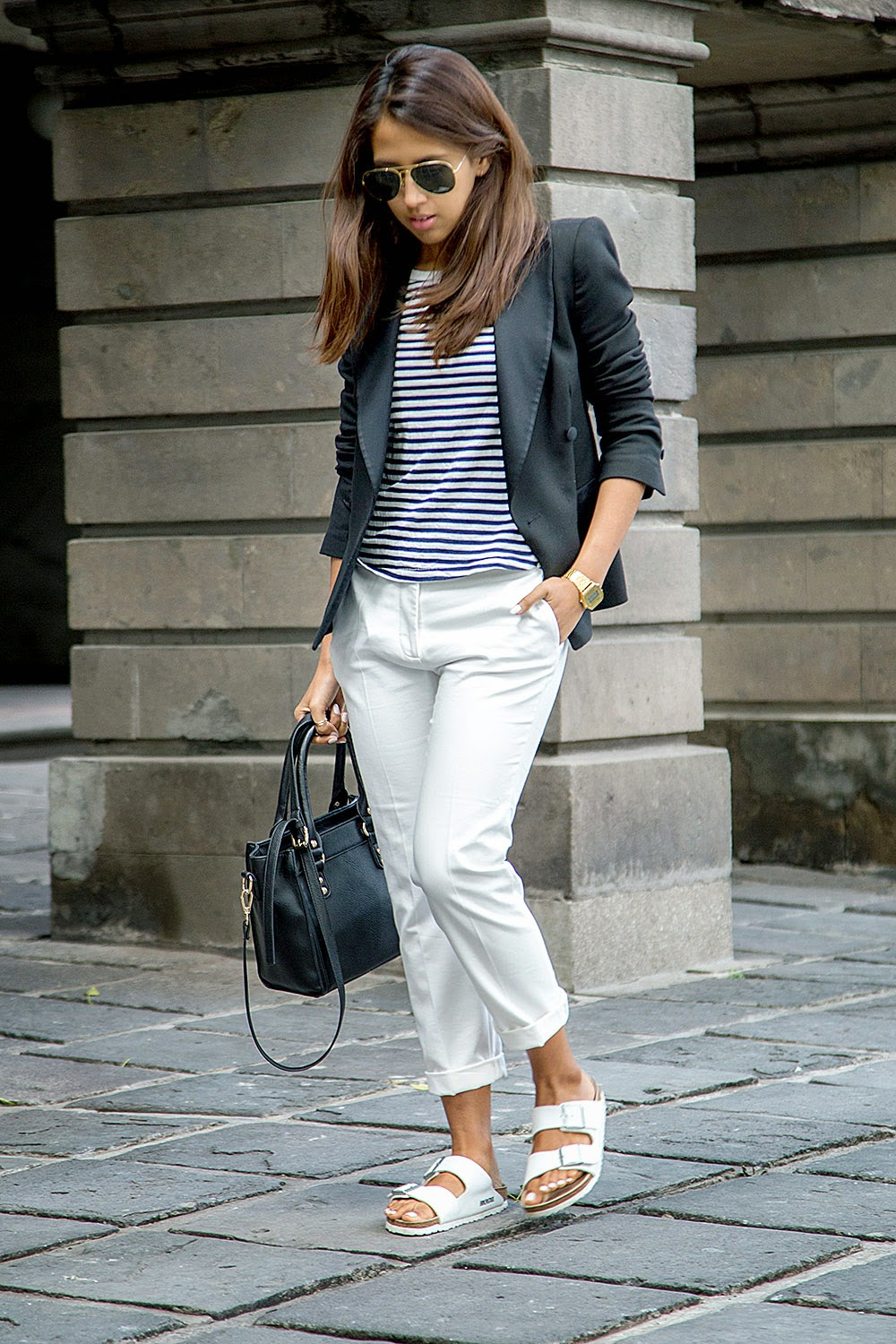 casual outfit in white chinos and stripes