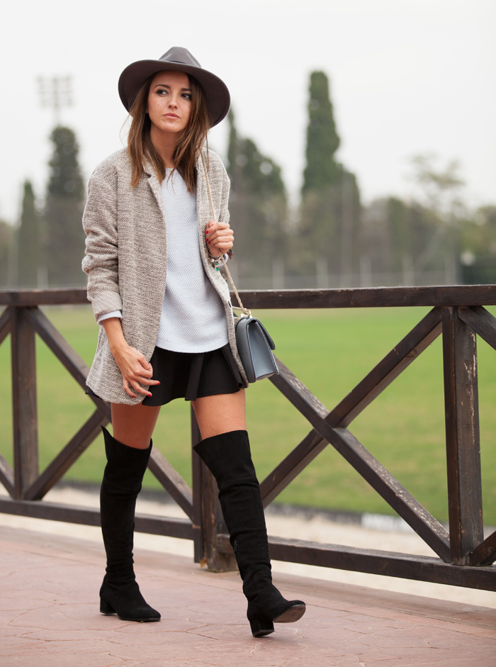 casual for spring: over the knee boots and skirt