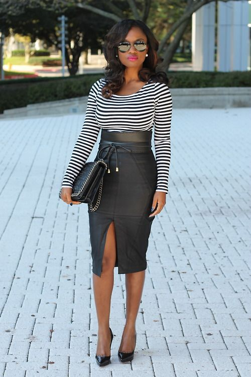 woman wearing leather pencil skirt