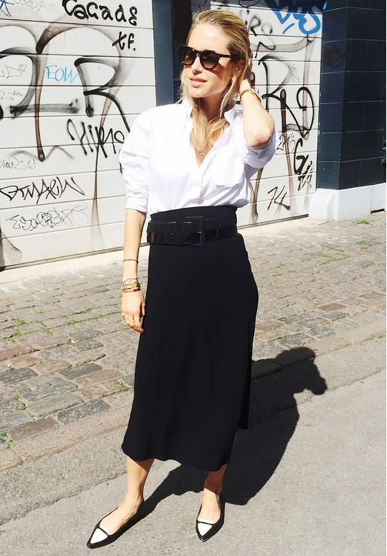 Swedish blogger wearing white and midi skirt