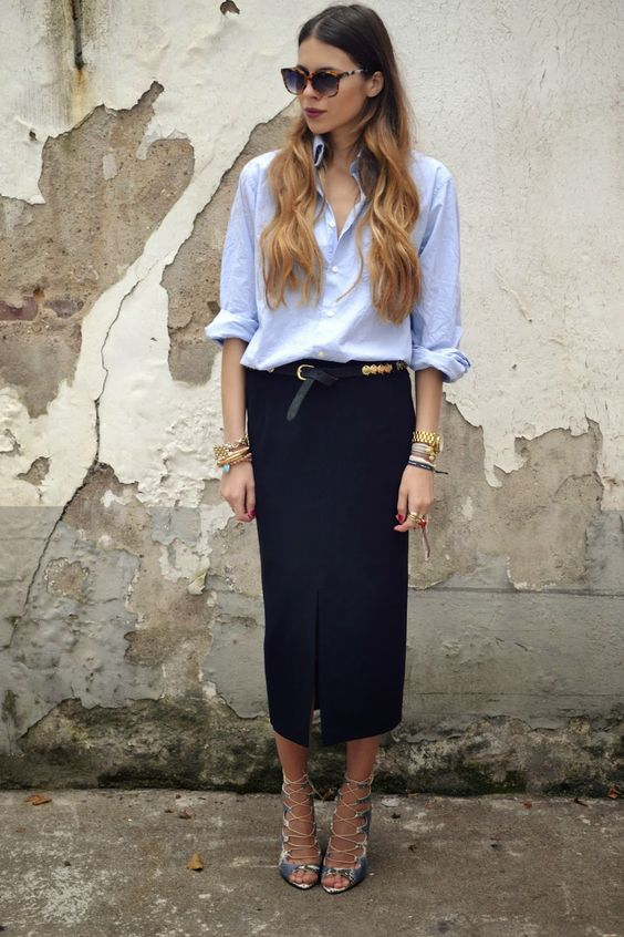 blue shirt and midi skirt to work