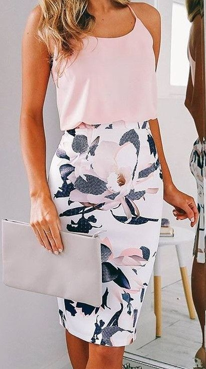 beige top and pencil skirt for office
