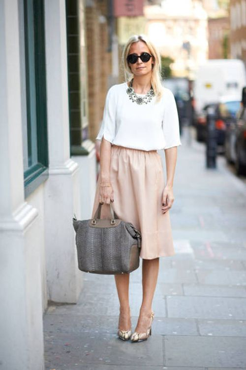 beige skirt for office