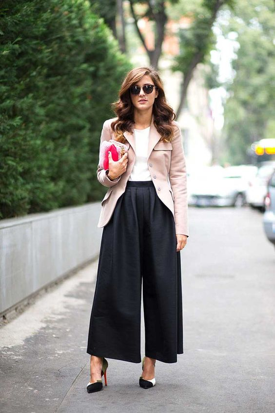 wide pant and blazer for fall