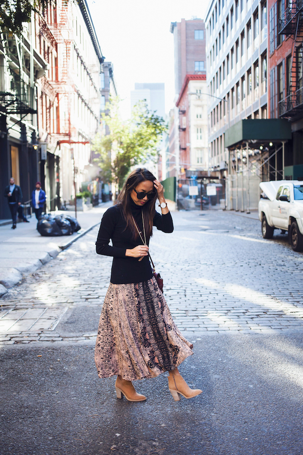 fall outfit with summer skirt