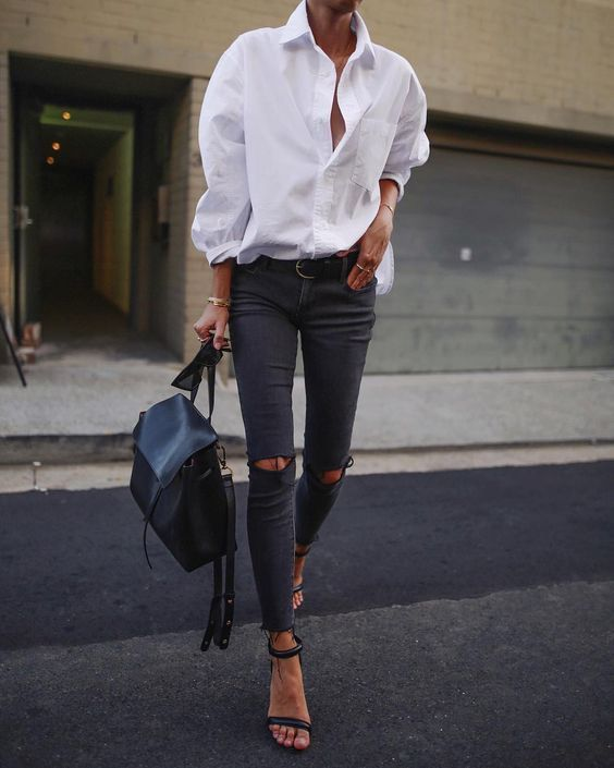 white shirt black sandals
