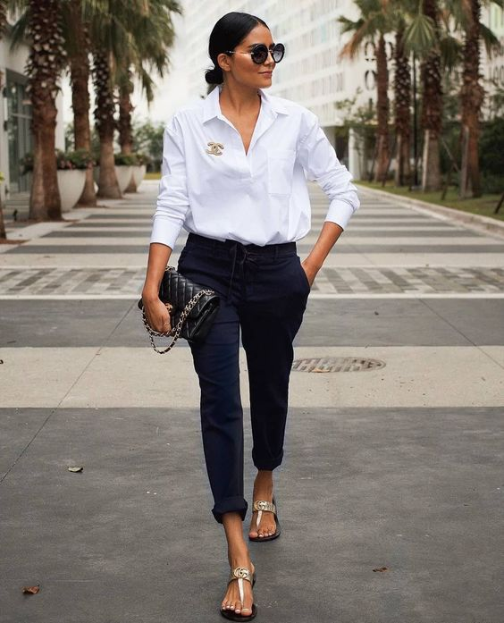 white shirt casual look chanel